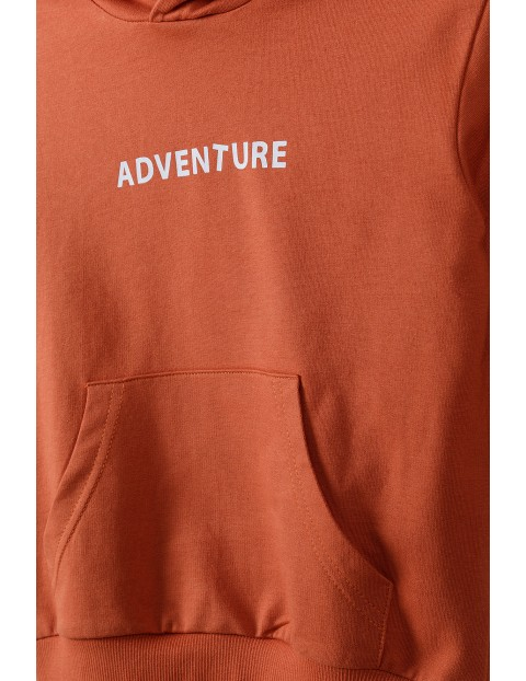 Bluza dresowa chłopięca z kapturem i kieszenią z przodu