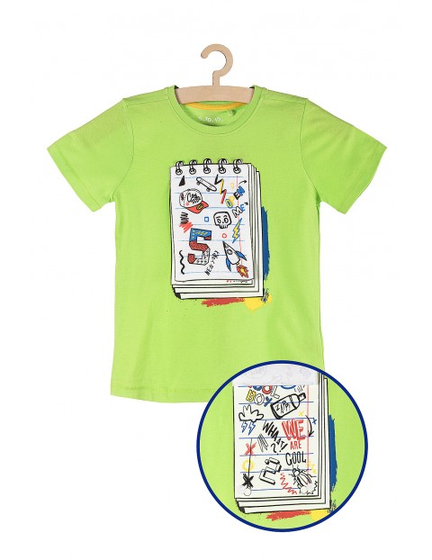 Koszulka chłopięca dzianinowa zielona z aplikacją 3D