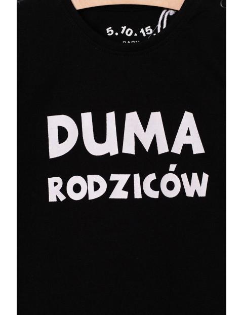 """Czarna bluzka dziewczęca z napisem """"Duma rodziców"""""""