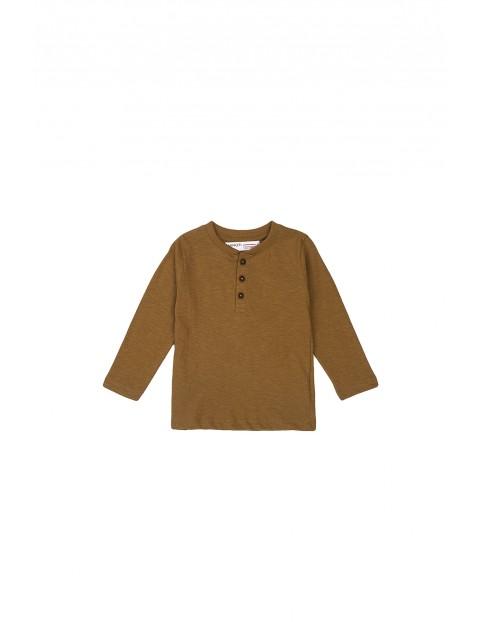 Bluzka chłopięca bawełniana z guzikami brązowa