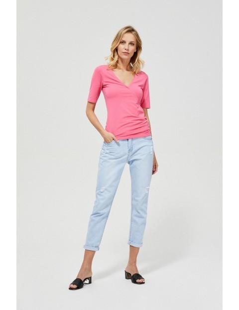 Różowy T-shirt damski na krótki rękaw z marszczeniem