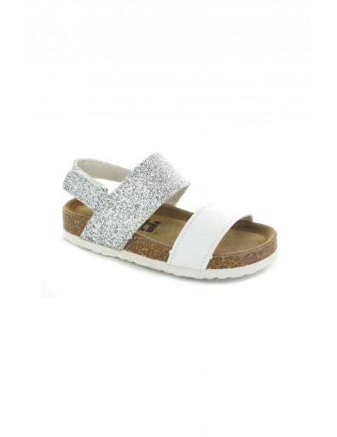 Sandały dziewczęce srebrno-białe