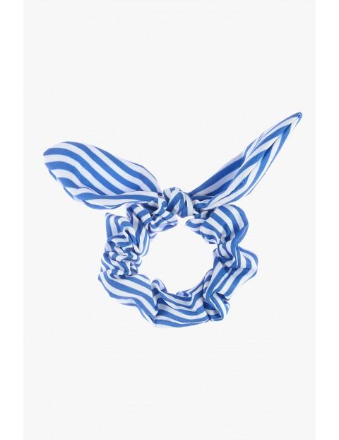 Gumka do włosów biało-niebieskie paski