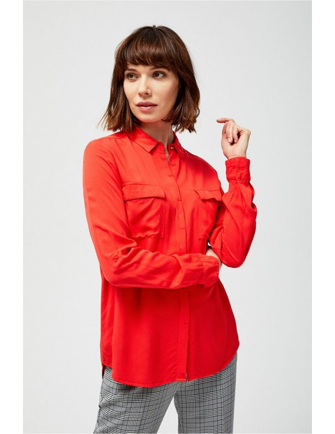 Koszula damska czerwona z długim rękawem