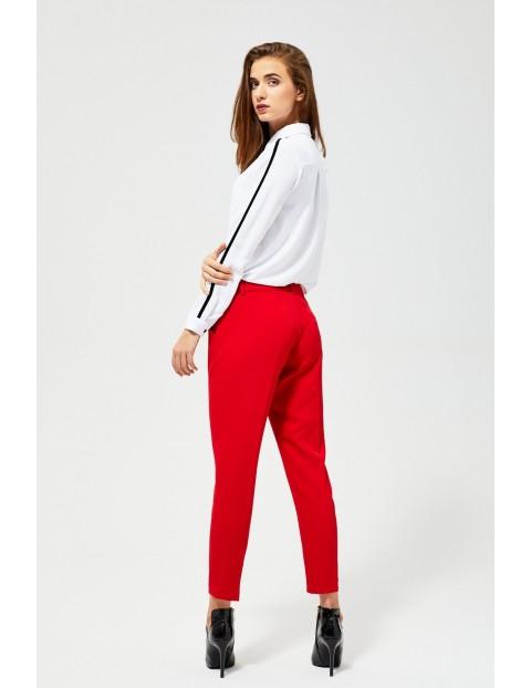 Spodnie damskie - czerwone w kant