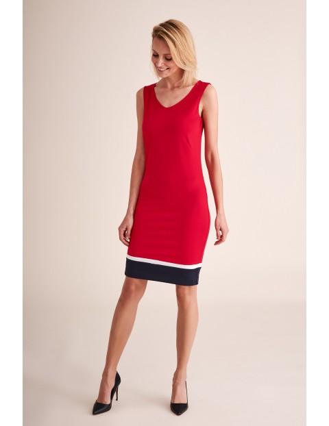 Sukienka dzianinowa bez rękawów czerwona- midi
