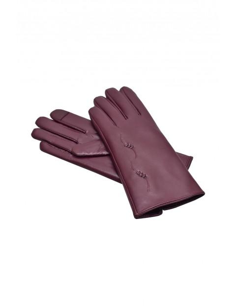 Rękawiczki damskie skórzane antybakteryjne - bordowe