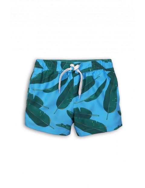 Kąpielówki dla chłopca- niebieskie w liście
