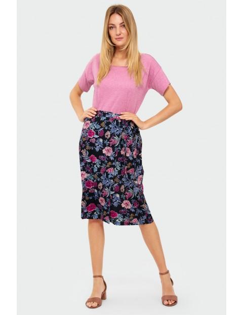 Wiskozowa spódnica kopertowa w kwiaty