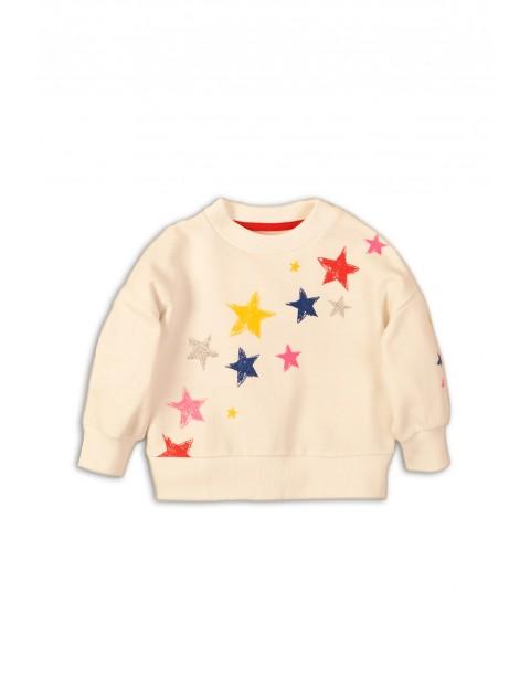 Bluza nierozpinana dziewczęca kremowa w gwiazdki