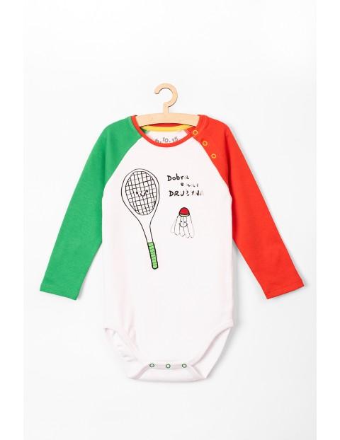 Body niemowlęce z kolorowymi rękawami- polskie napisy
