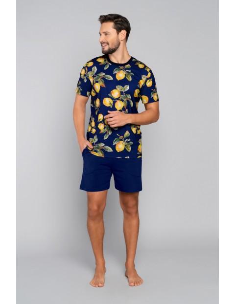 Bawełniana piżama męska w cyrtyny - granatowa