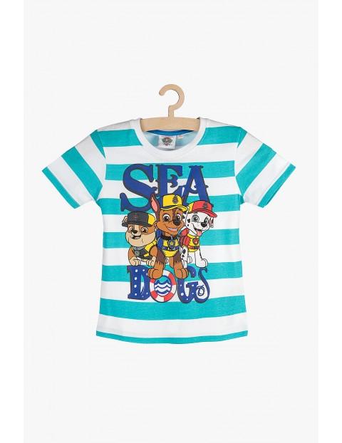 T-Shirt chłopięcy w niebiesko-białe paski-Psi patrol