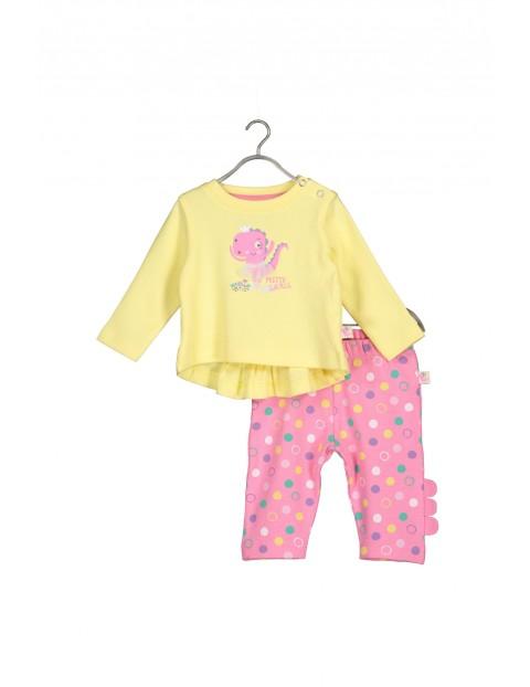 Komplet bawełnianych ubranek dla niemowlaka- bluzka i leginsy