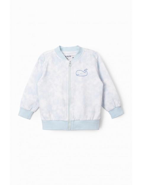 Błękitna bluza dresowa niemowlęca z wielorybem