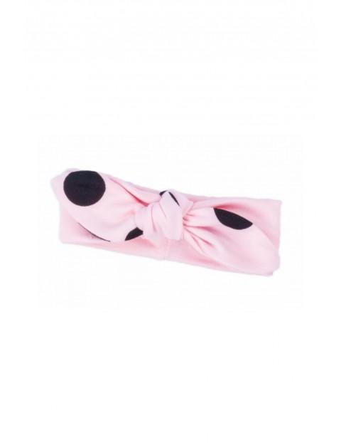 Bawełniana opaska na głowę różowa z kokardką