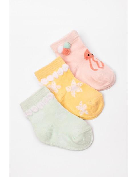 Skarpety niemowlęce dla dziewczynki 3pak