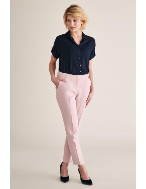Spodnie damskie garniturowe - różowe