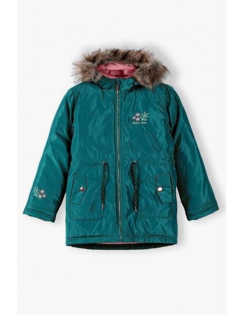 Zielona  kurtka dziewczęca z kapturem