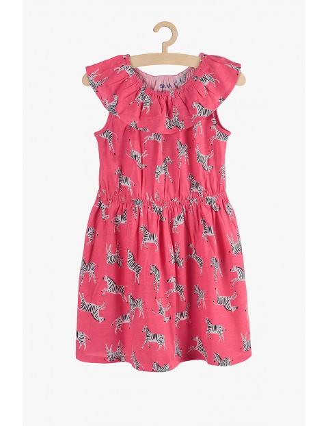Sukienka dziewczęca różowa- Safari - Zebry