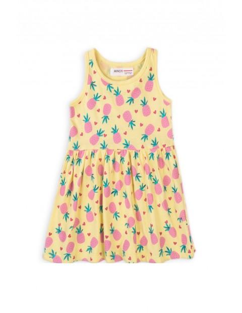 Sukienka dziewczęca na ramiączkach żółta w ananasy