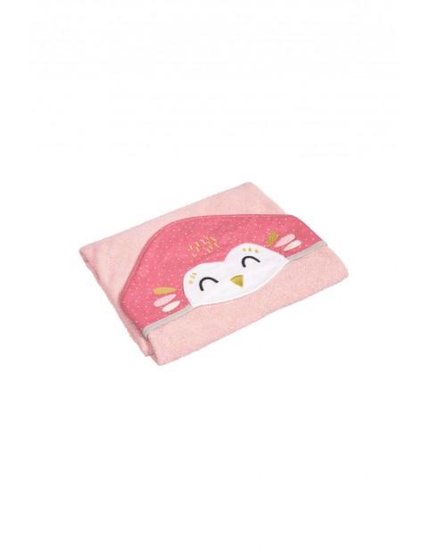 Okrycie kąpielowe dla niemowląt Sowa - różowe 100x100cm