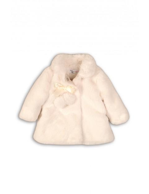 Płaszczyk niemowlęcy ze sztucznego futerka- biały