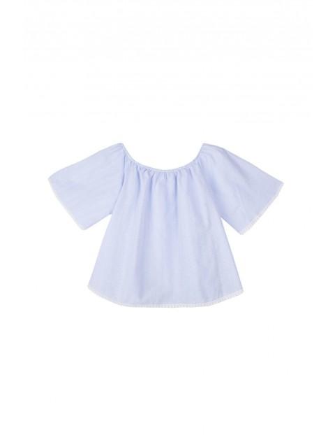 Błękitna bluzka damska z odkrytymi ramionami