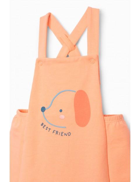 Sukienka ogrodniczka dzianinowa z pieskiem Best Friend