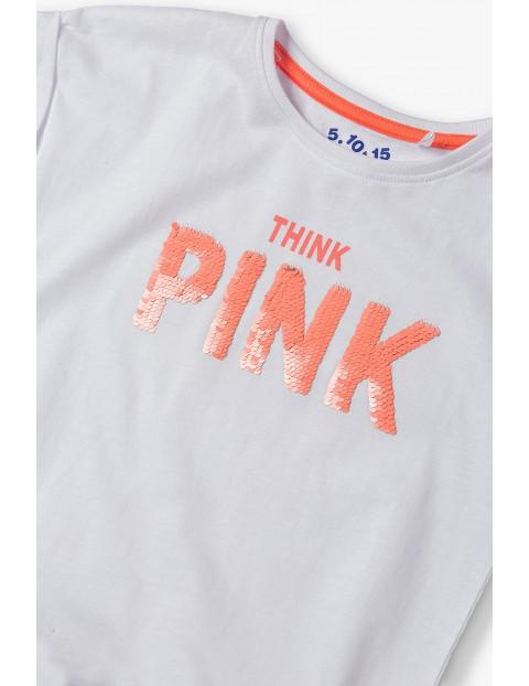 T-shirt dziewczęcy z dwustronnymi cekinami- Pink