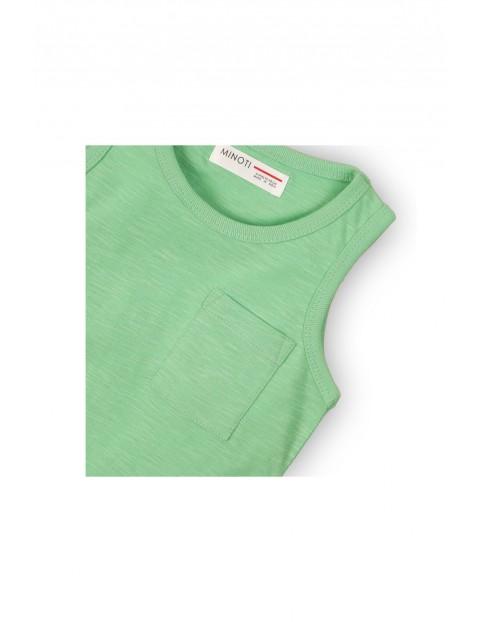 Bluzka chłopięca zielona na ramiączka- 100% bawełna