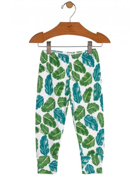 Spodnie niemowlęce w niebiesko-zielone piórka