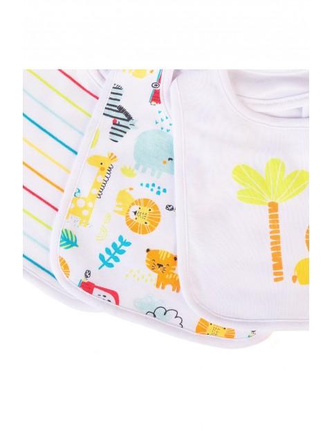 Śliniaki bawełniane dla niemowlaka Safari 3pak