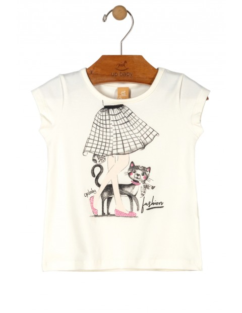 T-shirt dziewczęcy biały z kotkiem