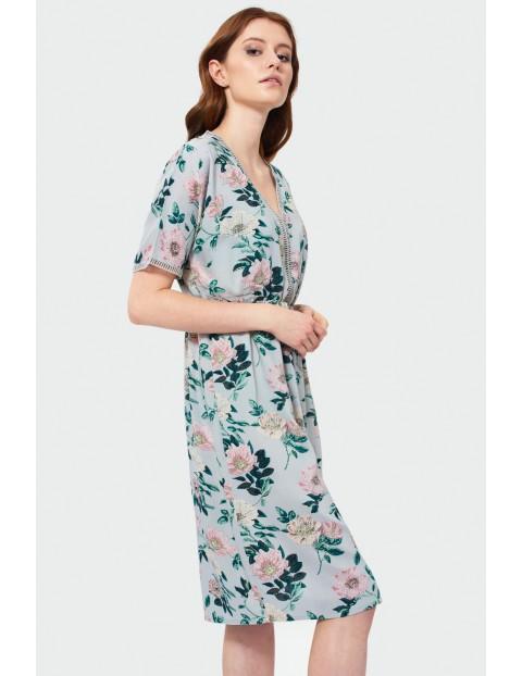 Sukienka damska w kwiaty- kimono