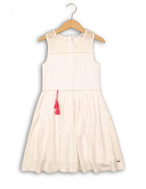 373398d353 Elegancka biała sukienka dziewczęca z ażurową górą