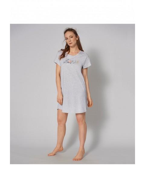 Szara koszula nocna Triumph z linii Lounge-Me Cotton z nadrukiem