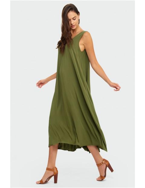 Zielona długa sukienka damska na grube ramiączka