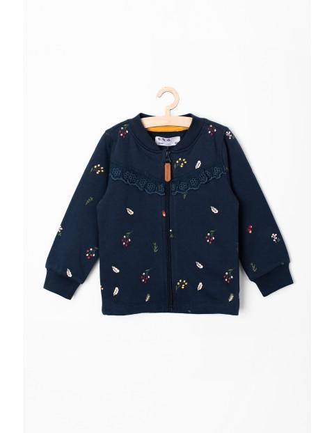 Bluza dresowa dla dziewczynki - granatowa w kwiaty