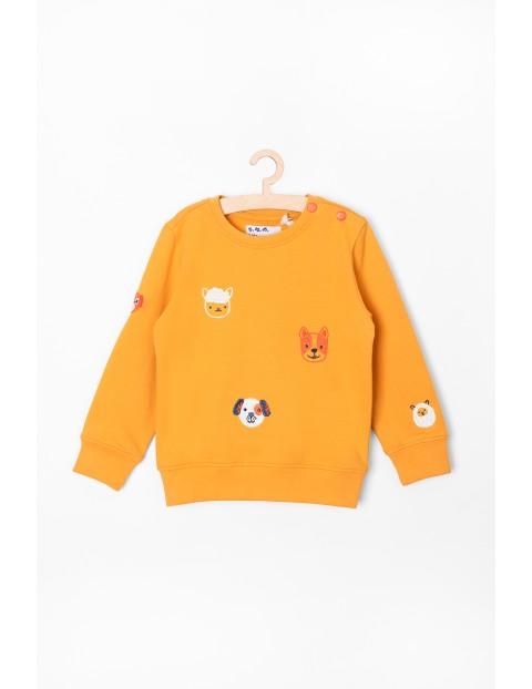 Bluza dresowa w zwierzaki - pomarańczowa