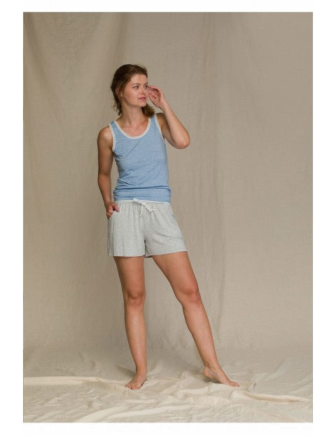 Pastelowa letnia piżama damska- szaro-niebieska