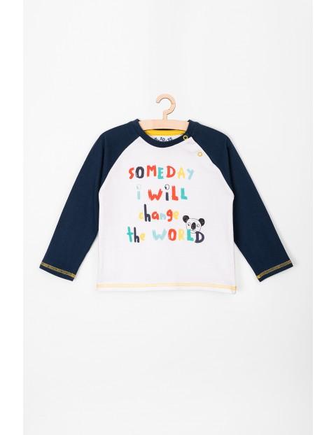 Bluzeczka dla niemowlaka-granatowe rękawy kolorowe nadruki