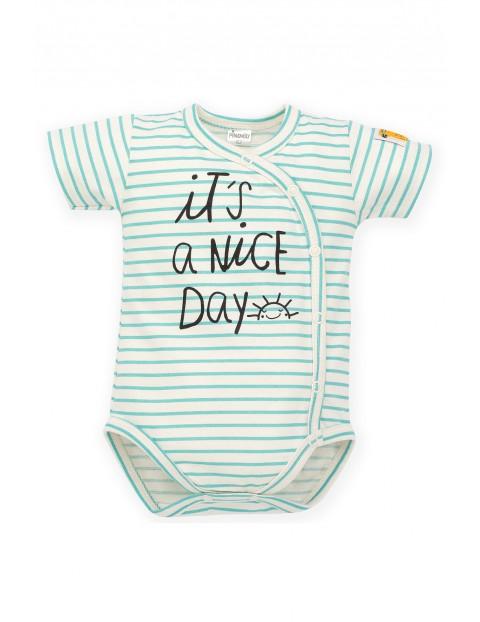 Body niemowlęce w paski- kopertowe zapięcie