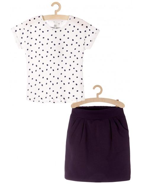 Komplet ubrań dla dziewczynki bluzka i granatowa spódniczka