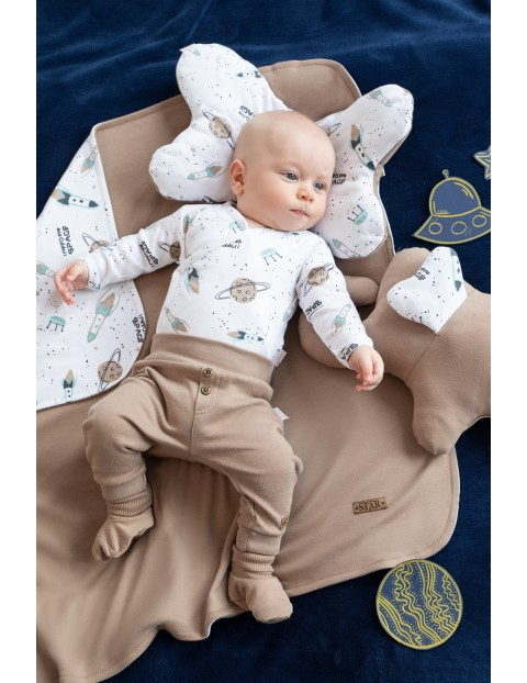Bawełniane spodnie chłopięce - brązowe Kosmos