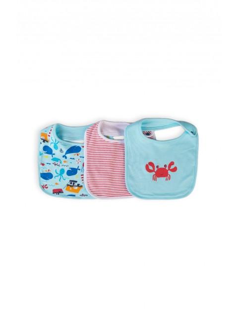 Bawełniane śliniaki niemowlęce Ocean 3-pak