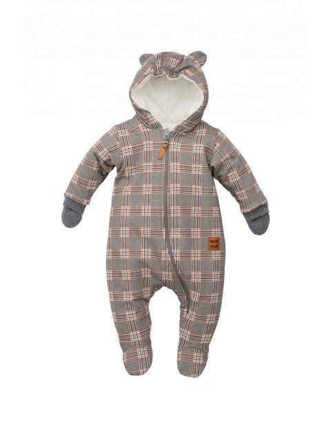 Kombinezon niemowlęcy dzianinowy- Bears Club w kratę
