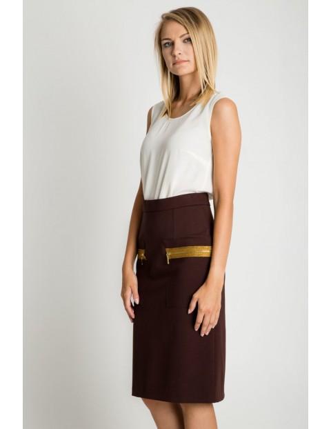 Brązowa spódnica ze złotymi zamkami