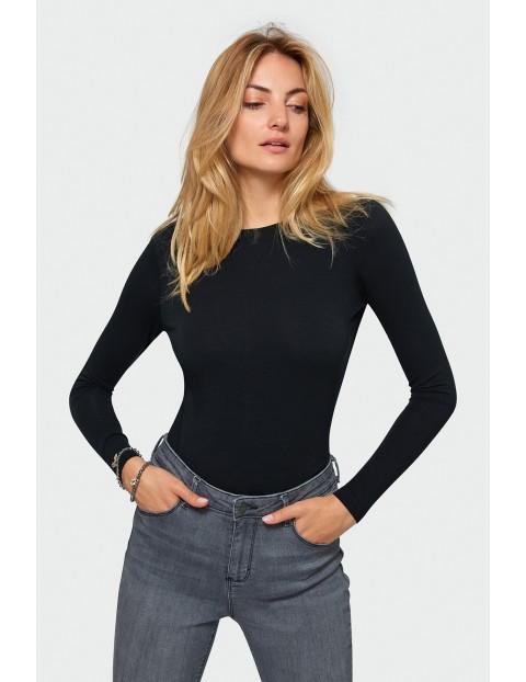 Czarna dzianinowa bluzka z długim rękawem- gładka