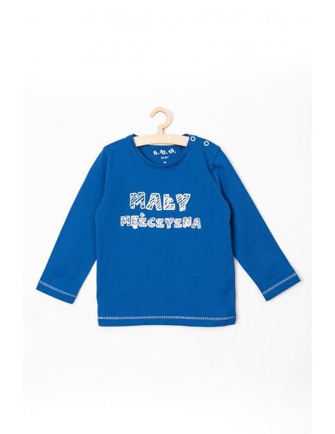 Bluzka niemowlęca niebieska z napisem - Mały mężczyzna